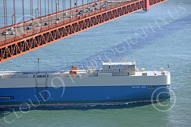 ENGF-GGB 00096 The SALVIA ACE, a large ocean going cargo ship, passes under the Golden Gate Bridge, by Peter J Mancus