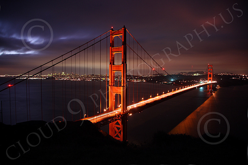 ENGF-GGB 00052 A beautiful picture of the Golden Gate Bridge at night, by Peter J Mancus