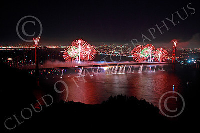 ENGF-GGB 00352 Colorful fireworks burst above the Golden Gate Bridge to celebrate a landmark anniversary picture by Peter J Mancus