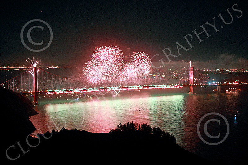 ENGF-GGB 00328 Fabulous extensive colorful fireworks burst over the Golden Gate Bridge to celebrate a landmark anniversary picture by Peter J Mancus