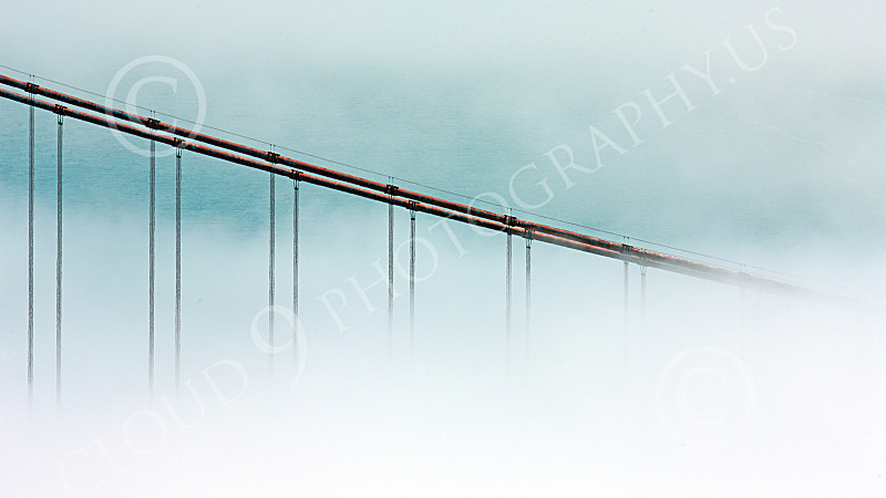 ENGF-GGB 00057 A tight crop of some of the Golden Gate Bridge's cables in midst of thick fog, by Peter J Mancus