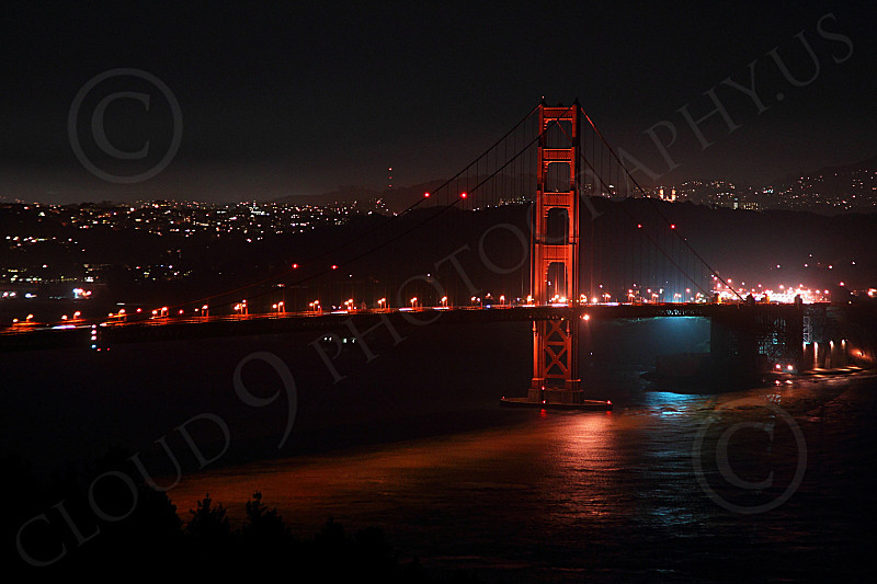 ENGF-GGB 00272 The south side of the Golden Gate Bridge, at night, by Peter J Mancus