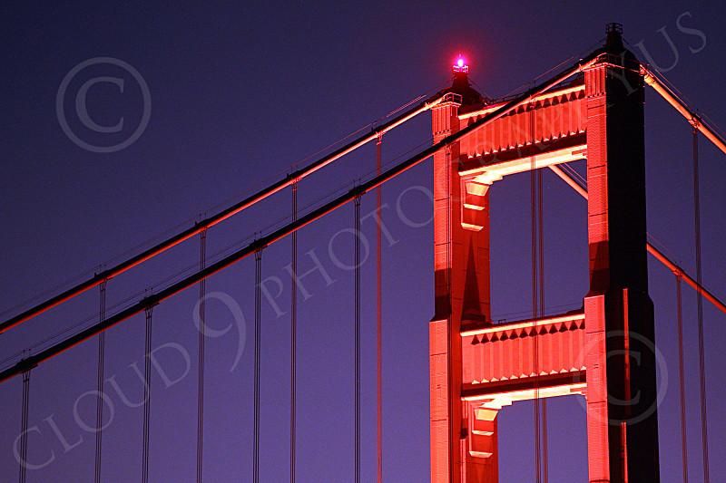 ENGF-GGB 00128 A Golden Gate Bridge north tower night scene, by Peter J Mancus