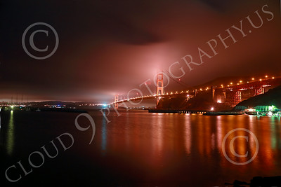 ENGF-GGB 00113 An extreme wide-angle northeast view of the Golden Gate Bridge at night by Peter J Mancus