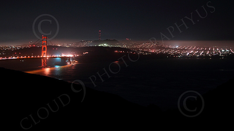 ENGF-GGB 00304 An extremely expansive night view of the Golden Gate Bridge, by Peter J Mancus