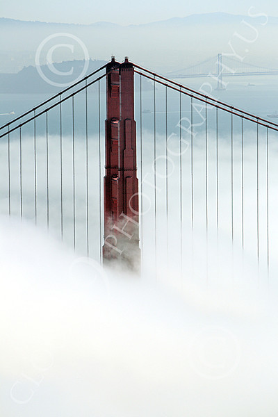 ENGF-GGB 00203 One of the Golden Gate Bridge's towers, in fog, by Peter J Mancus