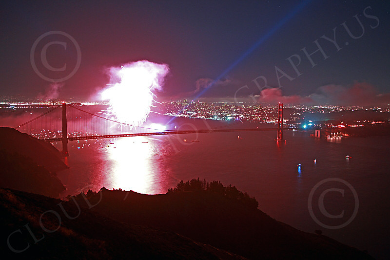 ENGF-GGB 00306 A fabulous expansive view of colorful fireworks over the Golden Gate Bridge celebrate a landmark anniversary picture by Peter J Mancus