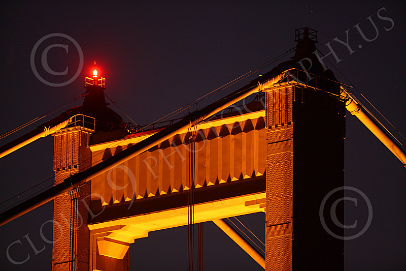 ENGF-GGB 00068 Close up detail night picture of the top of the Golden Gate Bridge's north tower, by Peter J Mancus