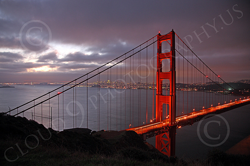 ENGF-GGB 00058 The Marin tower of the Golden Gate Bridge at night, by Peter J Mancus