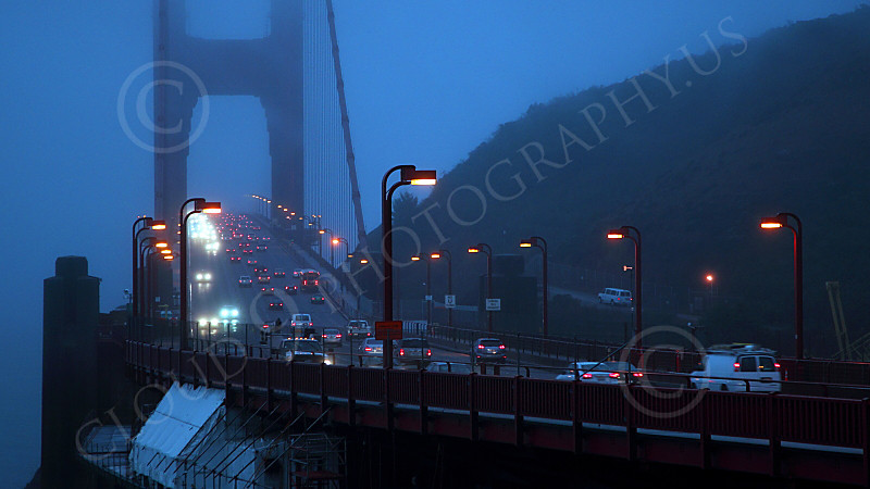 ENGF-GGB 00026 North end of the Golden Gate Bridge at night, by Peter J Mancus