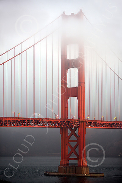 ENGF-GGB 00011 One Golden Gate Bridge tower at early sunrise, by Peter J Mancus