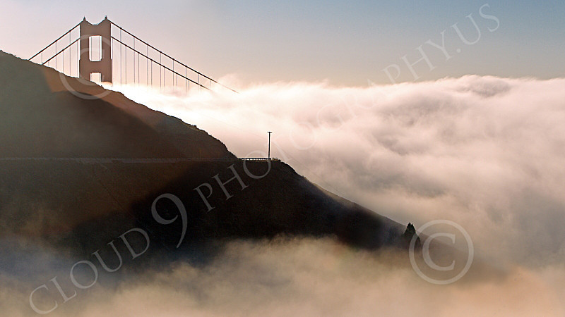 ENGF-GGB 00192 Thick fog rolls in on the Golden Gate Bridge, by Peter J Mancus