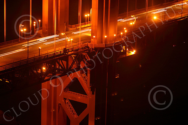 ENGF-GGB 00028 A time lapse tight crop detail of the Golden Gate Bridge at night, by Peter J Mancus