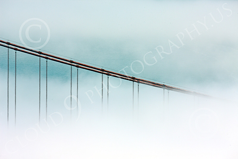 ENGF-GGB 00182 A tight crop of some of the Golden Gate Bridge's cables in midst of thick fog, by Peter J Mancus