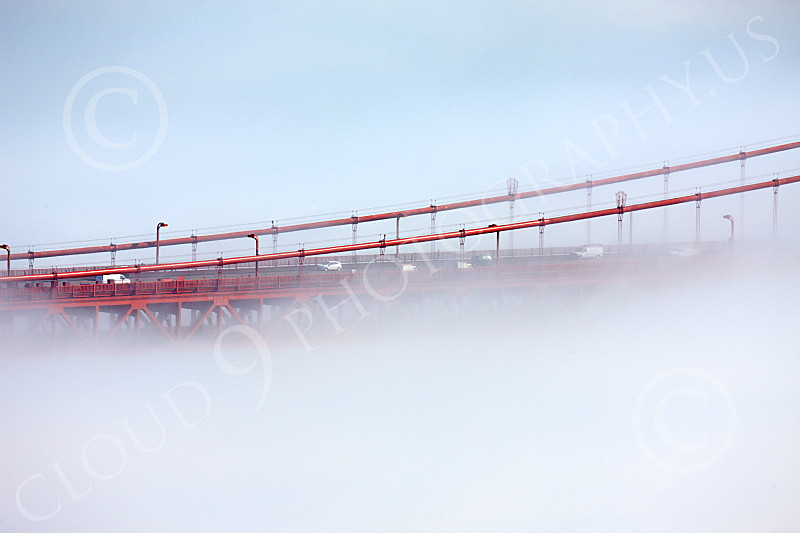 ENGF-GGB 00198 A tight crop of part of the Golden Gate Bridge engulfed by thick fog, by Peter J Mancus