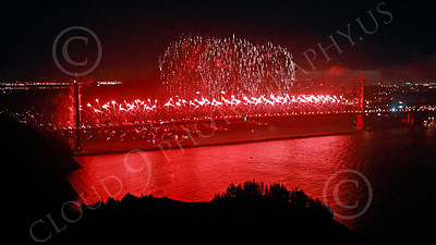 ENGF-GGB 00363 Fabulous extensive red fireworks burst over the Golden Gate Bridge to celebrate a landmark anniversary picture by Peter J Mancus