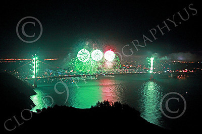 ENGF-GGB 00351 Fabulous extensive green fireworks burst over the Golden Gate Bridge to celebrate a landmark anniversary picture by Peter J Mancus