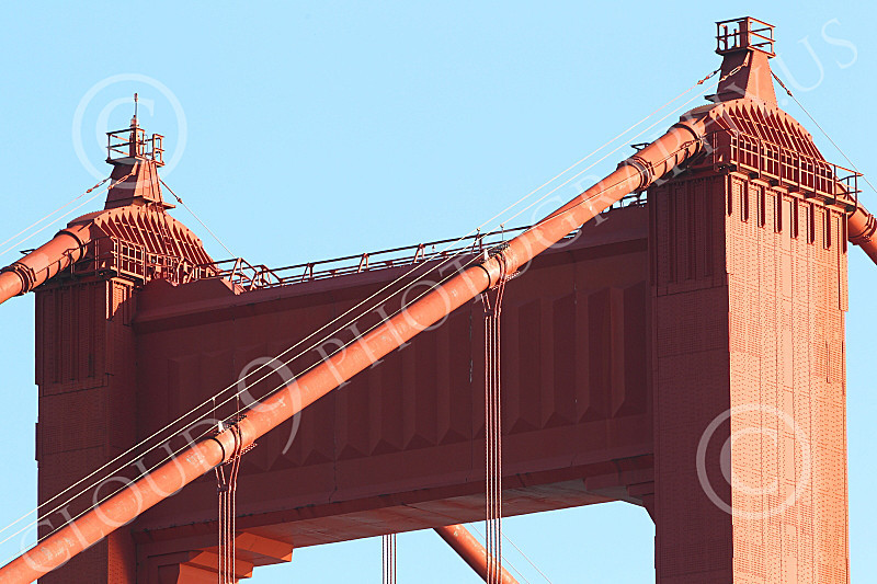 ENGF-GGB 00056 Close up detail of the top of the north Golden Gate Bridge tower, by Peter J Mancus