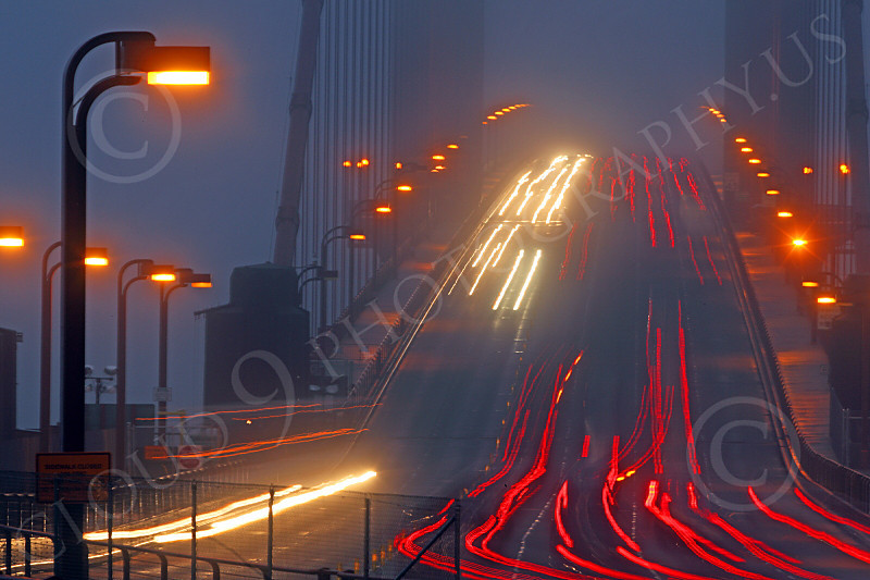 ENGF-GGB 00044 Time lapse photography of night vehicular traffic on north end of the Golden Gate Bridge, by Peter J Mancus