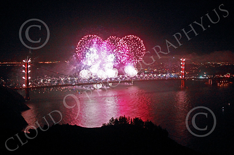 ENGF-GGB 00344 Fabulous extensive pink fireworks burst over the Golden Gate Bridge to celebrate a landmark anniversary picture by Peter J Mancus