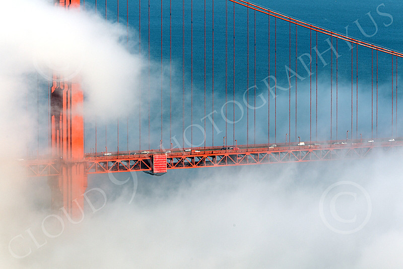 ENGF-GGB 00250 A tight crop of part of the Golden Gate Bridge's north tower, in fog, by Peter J Mancus