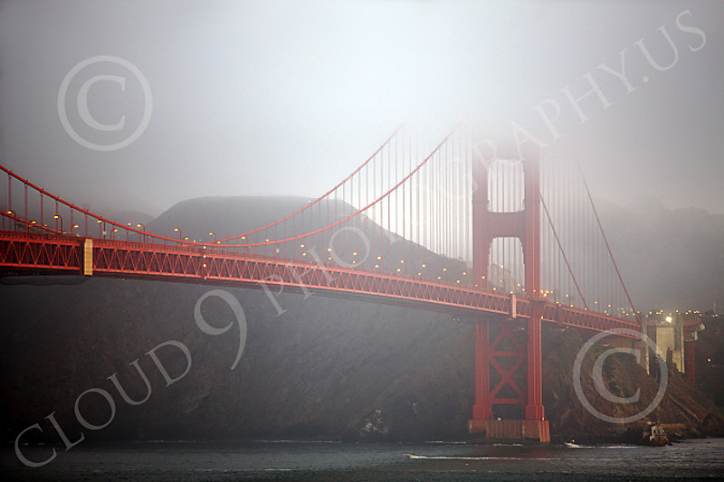 ENGF-GGB 00012 The north bay span of the Golden Gate Bridge in dim light and fog, by Peter J Mancus