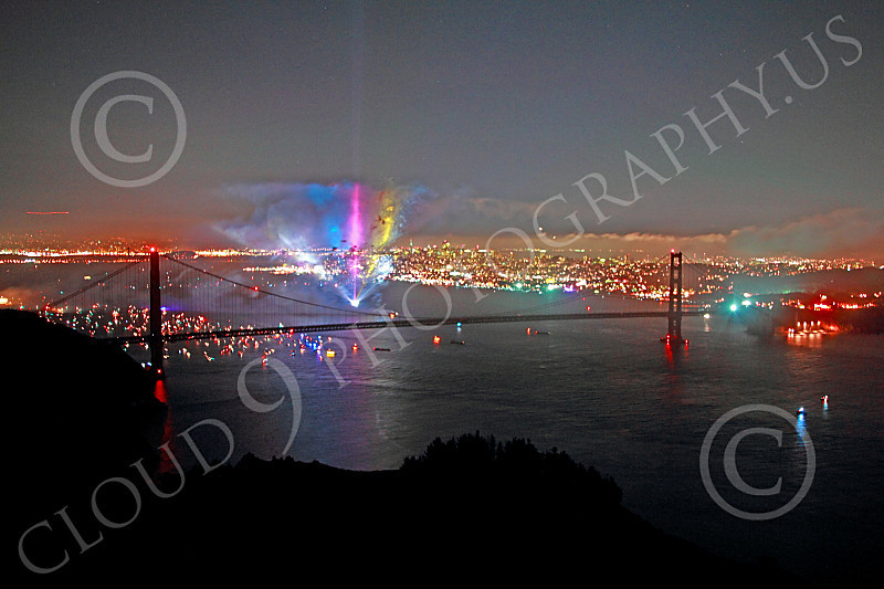 ENGF-GGB 00342 Colorful searchlights part of a Golden Gate Bridge anniversary celebration picture by Peter J Mancus