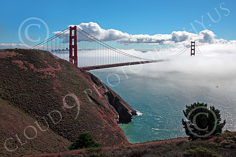 ENGF-GGB 00032 A highlands south view of the Golden Gate Bridge amidst fog and clouds, by Peter J Mancus
