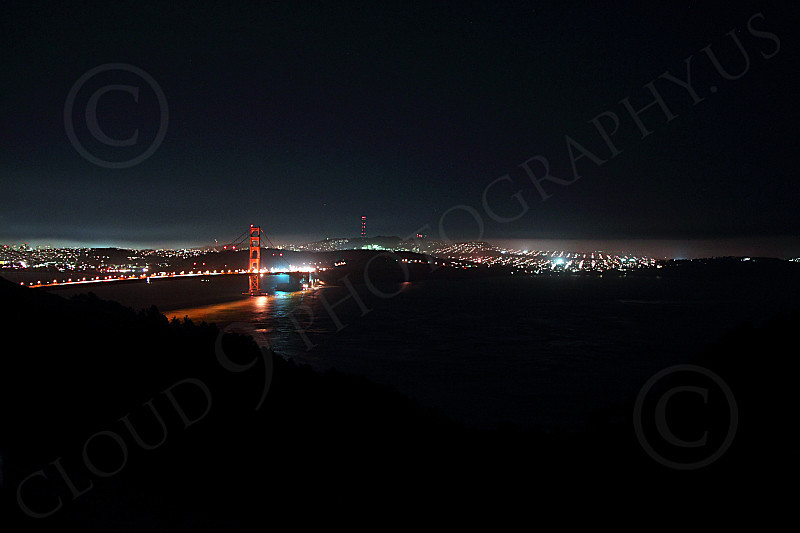 ENGF-GGB 00092 An extremely expansive night view of the Golden Gate Bridge, by Peter J Mancus