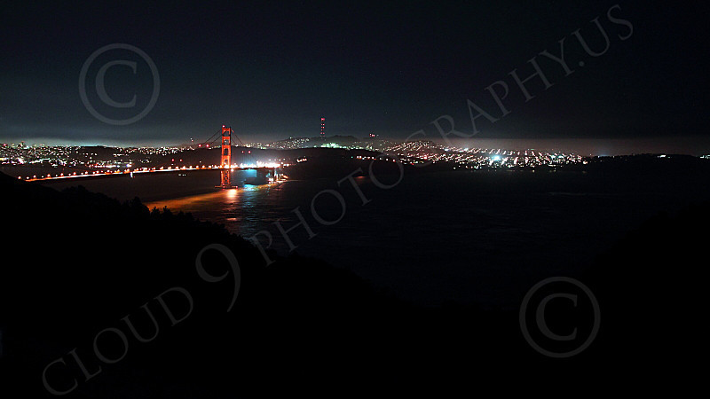 ENGF-GGB 00181 An extremely expansive night view of the Golden Gate Bridge, by Peter J Mancus