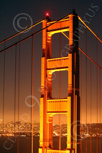 ENGF-GGB 00023 The Marin tower of the Golden Gate Bridge at night, by Peter J Mancus