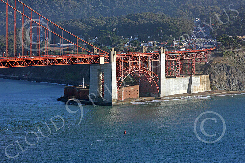 ENGF-GGB 00120 The Golden Gate Bridge's south end structure, where it joins with land, by Peter J Mancus
