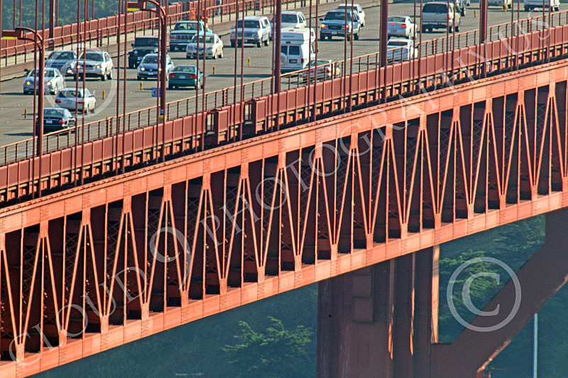 ENGF-GGB 00088 Close up detail Golden Gate Bridge vehicular traffic, by Peter J Mancus