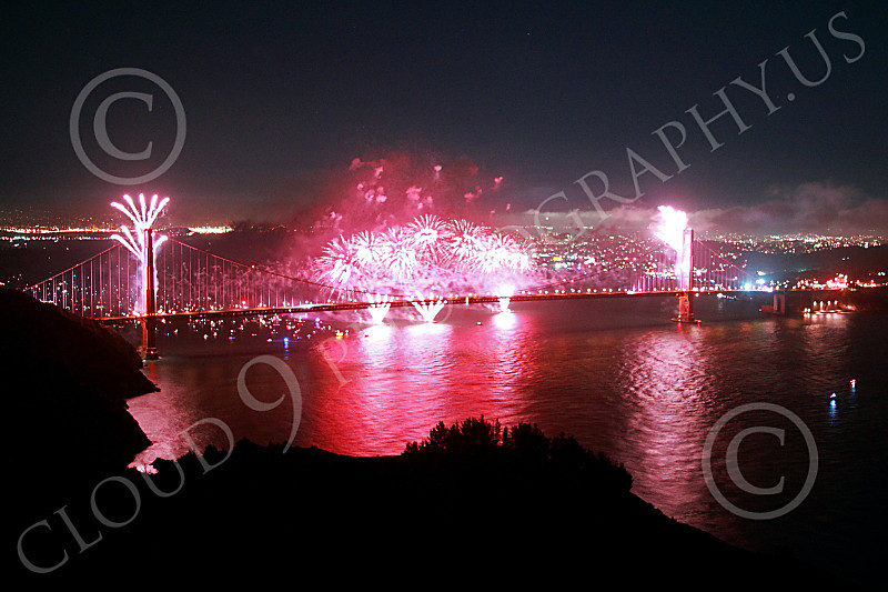 ENGF-GGB 00324 Fabulous pink fireworks burst over the Golden Gate Bridge to celebrate a landmark anniversary picture by Peter J Mancus