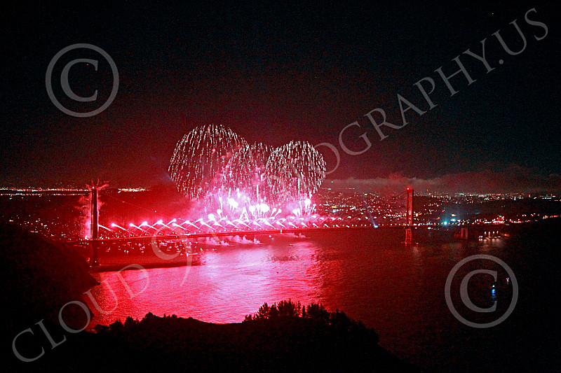 ENGF-GGB 00320 Fabulous extensive red fireworks burst over the Golden Gate Bridge to celebrate a landmark anniversary picture by Peter J Mancus