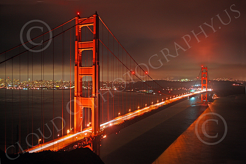 ENGF-GGB 00059 Night view of the Golden Gate Bridge, by Peter J Mancus