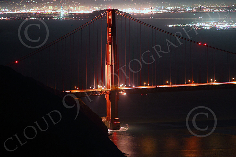 ENGF-GGB 00298 A night view of the Golden Gate Bridge's north tower, by Peter J Mancus