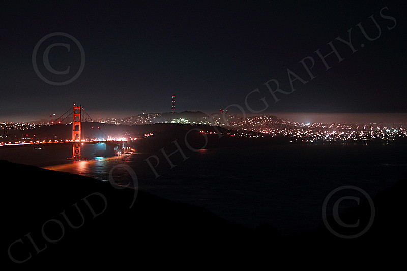 ENGF-GGB 00156 An extremely expansive night view of the Golden Gate Bridge, by Peter J Mancus