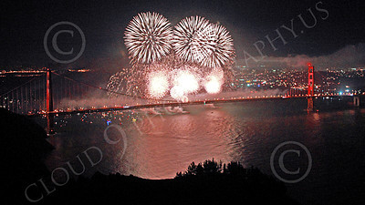 ENGF-GGB 00362 White fireworks burst over the Golden Gate Bridge to celebrate a landmark anniversary picture by Peter J Mancus