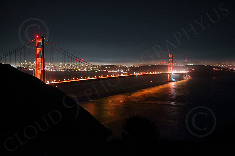 ENGF-GGB 00256 A night view of the Golden Gate Bridge, looking south, by Peter J Mancus