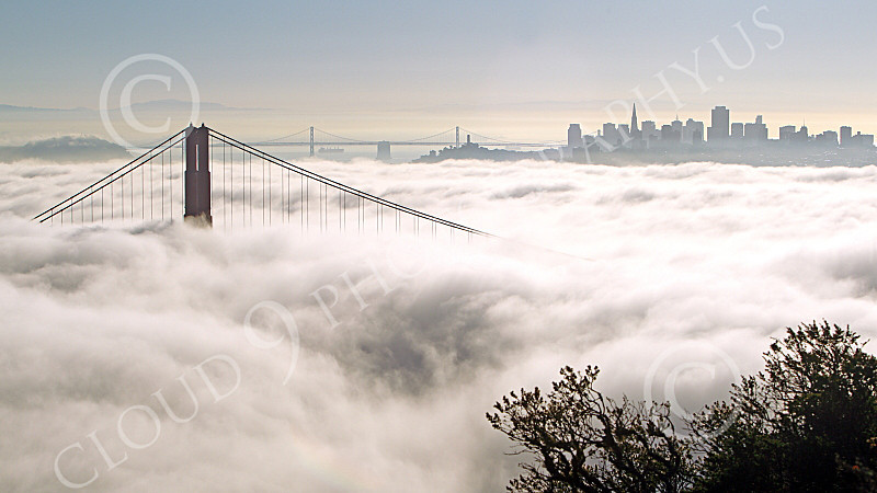 ENGF-GGB 00085 One Golden Gate Bridge tower towers about fog with San Francisco in the background, by Peter J Mancus