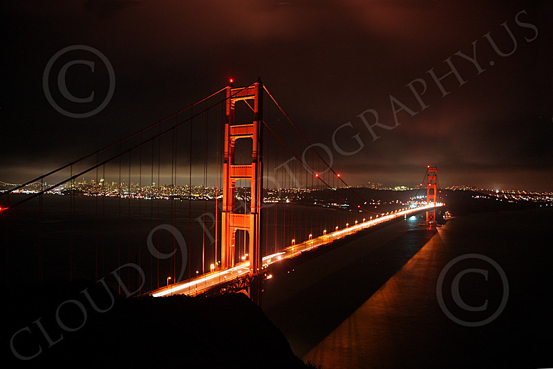 ENGF-GGB 00140 A night scene of the Golden Gate Bridge, facing south from the Marin Headlands, by Peter J Mancus