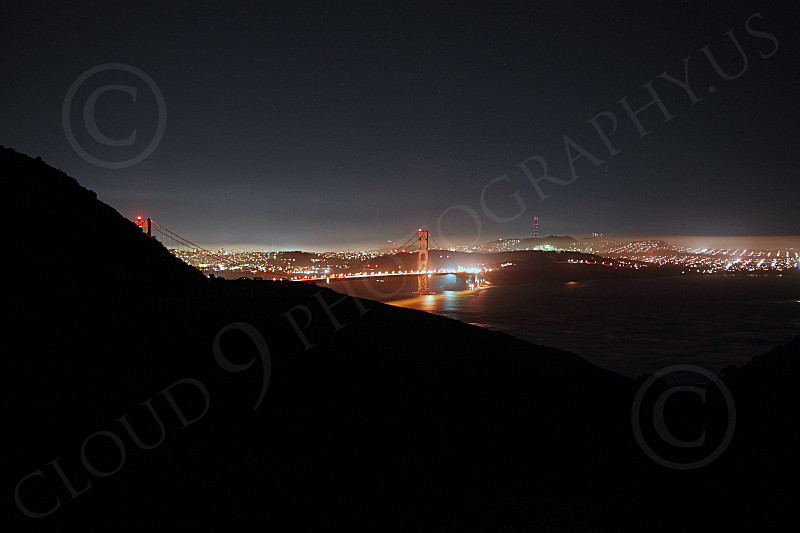 ENGF-GGB 00242 An extremely expansive night view of the Golden Gate Bridge, from the north looking south, by Peter J Mancus