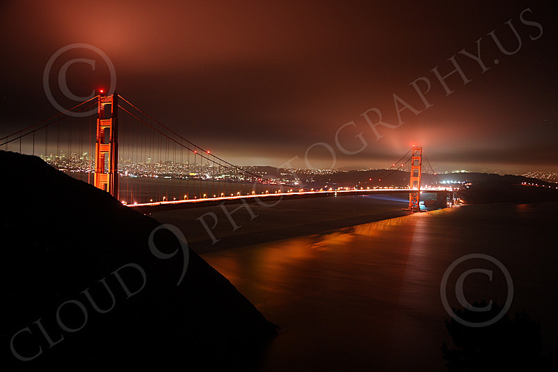 ENGF-GGB 00116 The Golden Gate Bridge at night under an overcast, by Peter J Mancus