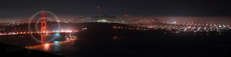 ENGF-GGB 00089 An extremely expansive night view of the Golden Gate Bridge, by Peter J Mancus