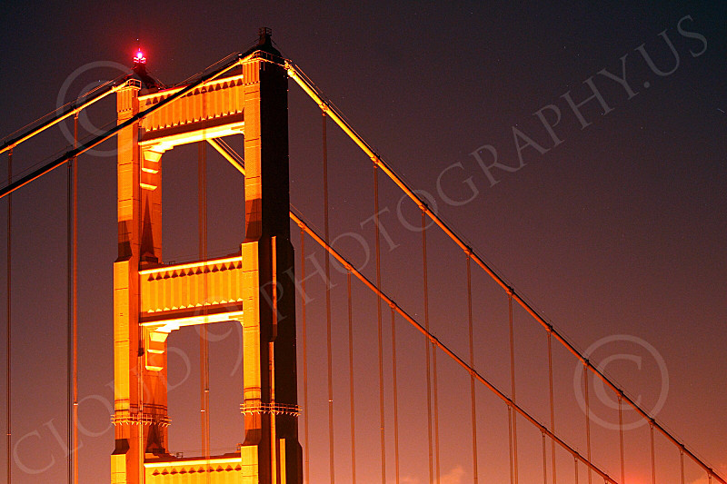 ENGF-GGB 00082 High end of the Marin tower of the Golden Gate Bridge at night, by Peter J Mancus
