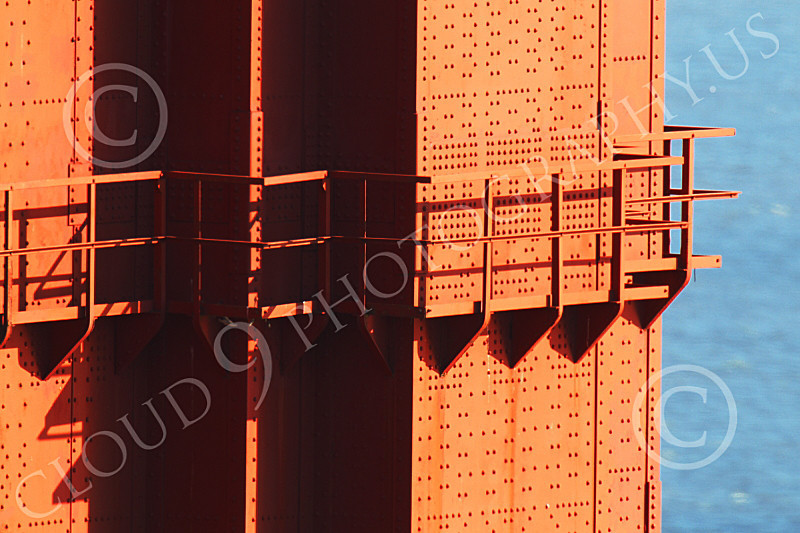ENGF-GGB 00132 Close up of a walkway around a Golden Gate Bridge tower, by Peter J Mancus