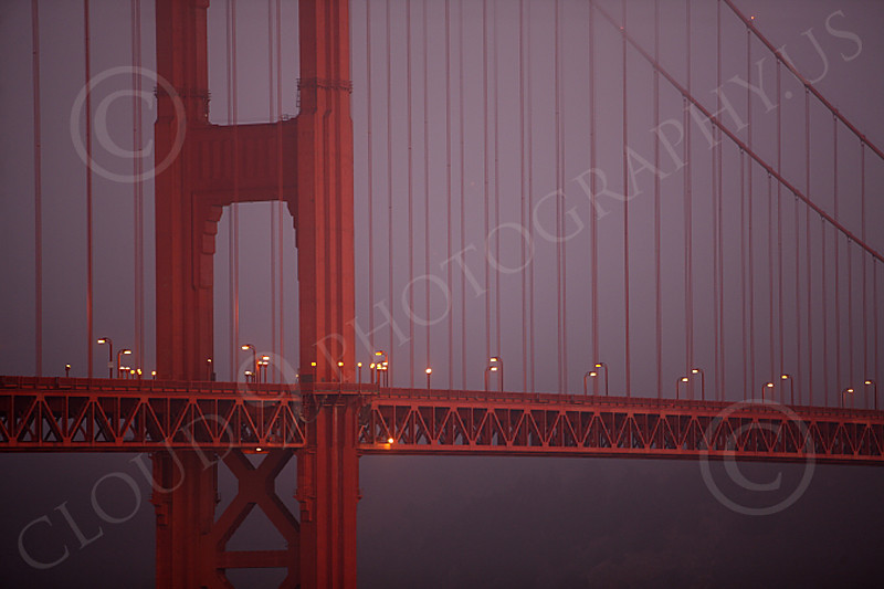ENGF-GGB 00014 Detail shot of the Golden Gate Bridge at twilight in fog, by Peter J Mancus