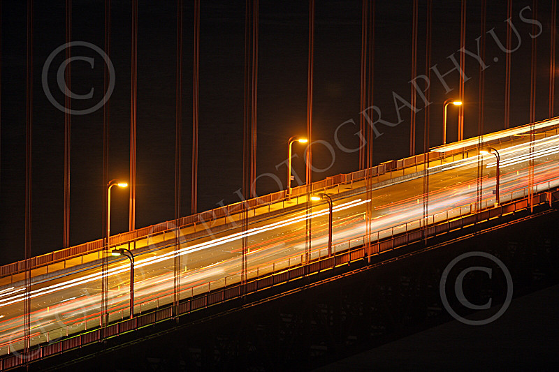 ENGF-GGB 00072 Time lapse night vehicular traffic Golden Gate Bridge picture, by Peter J Mancus