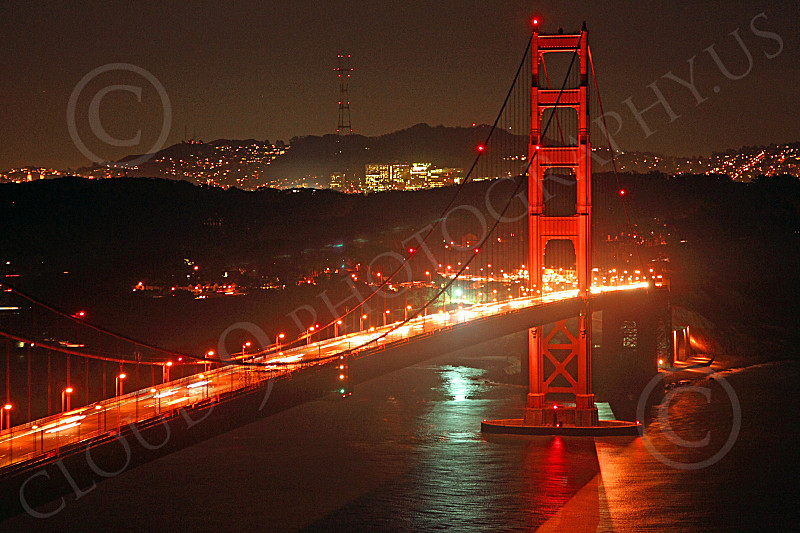 ENGF-GGB 00162 Night scene of the Golden Gate Bridge's south tower, by Peter J Mancus